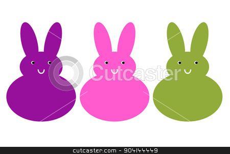 Cute beautiful bunny set isolated on white stock vector clipart, Cute bunnies in line isolated on white. Vector by BEEANDGLOW