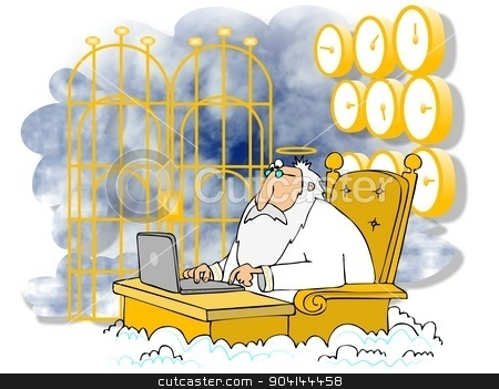 St. Peter at the Pearly Gates stock photo, This illustration depicts St Peter sitting at a desk using a laptop with the Pearly Gates behind him. by Dennis Cox