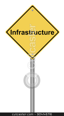 Infrastructure Warning Sign stock photo, Yellow warning sign with the writing Infrastructure on whiate background. by Henrik Lehnerer