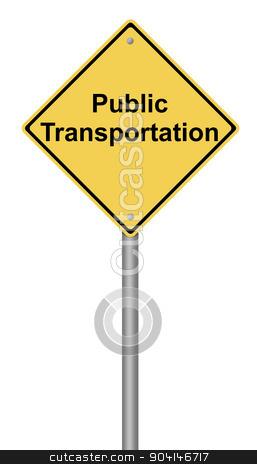 Public Transportation Warning Sign stock photo, Yellow warning sign with the writing Public Transportation on whiate background. by Henrik Lehnerer