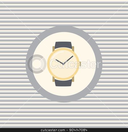 Wrist watch color flat icon stock vector clipart, Wrist watch color flat icon vector graphic illustration by Equipoise