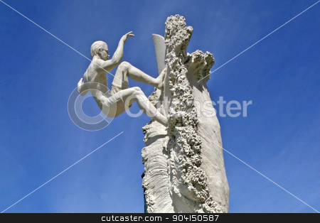 Sand Surfer stock photo, A surfer sand sculpture with blue sky by Lucy Clark