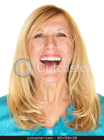 Laughing Female Adult stock photo, Beautiful single middle aged woman in blue laughing by Scott Griessel