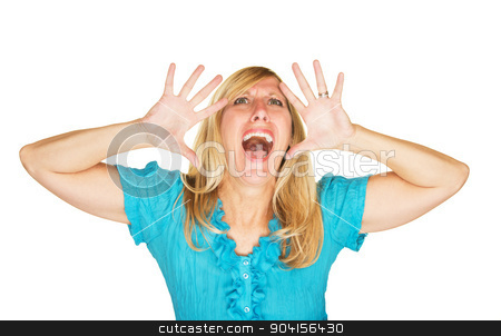 Stressed Out Screaming Woman stock photo, Stressed out screaming Caucasian female over white background by Scott Griessel