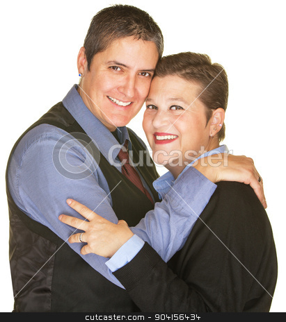 Happy Lesbian Sweethearts stock photo, Isolated happy lesbian sweethearts holding each other by Scott Griessel