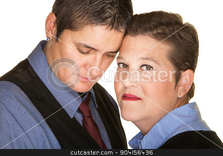 Forgiving Gay Spouse stock photo, Close up of forgiving lesbian couple next to each other by Scott Griessel
