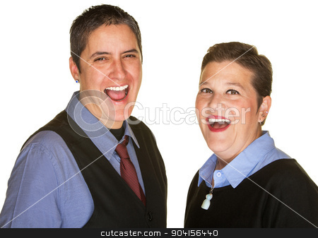 Hysterical Couple Laughing stock photo, Laughing lesbian couple in blue shirts on isolated background by Scott Griessel