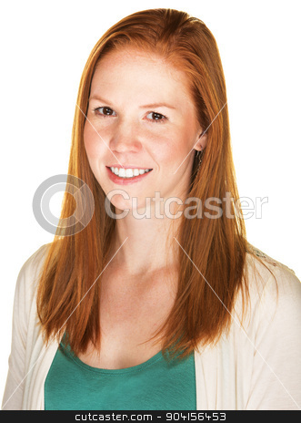 Smiling Young Woman stock photo, Smiling beautiful young Caucasian female with red hair by Scott Griessel