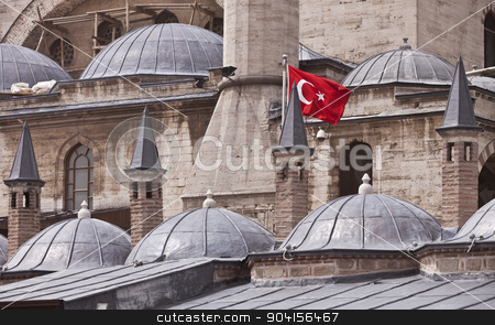 Flag on Konya Building in Turkey stock photo, Turkish flag on exterior of Rumi Museum in Konya by Scott Griessel