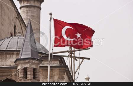 Turkish Flag stock photo, National flag of Turkey flying on mosque building exterior by Scott Griessel
