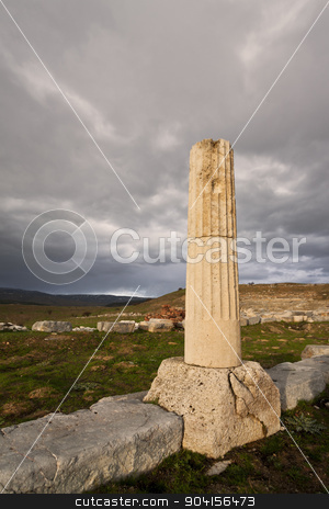 Remains of Ionic Column stock photo, Remains of Ionic column near ampitheater at Antioch Pisidian in Turkey by Scott Griessel