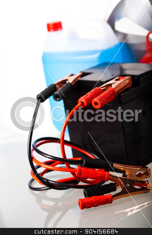 Car battery on vivid moto concept stock photo, Car battery on vivid moto concept by Sebastian Duda