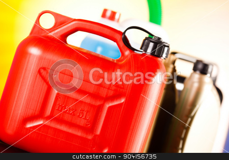 Canisters, Liquids for car on vivid moto concept stock photo, Canisters, Liquids for car on vivid moto concept by Sebastian Duda