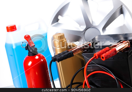 Car battery on vivid moto concept stock photo, Car battery on vivid moto concept by Sebastian Duda