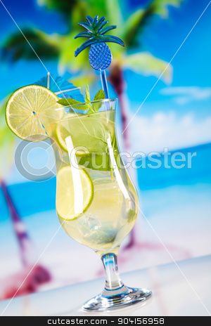 Fresh mojito drink in exotic colorful theme stock photo, Fresh mojito drink in exotic colorful theme by Sebastian Duda