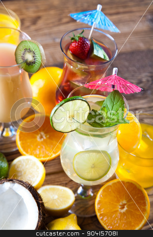 Cocktails, alcohol drinks with fruits stock photo, Cocktails, alcohol drinks with fruits by Sebastian Duda