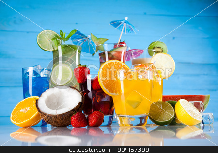 Fruit cocktails on the beach  stock photo, Fruit cocktails on the beach by Sebastian Duda