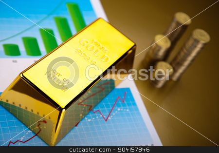 Gold bars with a linear graph, ambient financial concept stock photo, Gold bars with a linear graph, ambient financial concept by Sebastian Duda