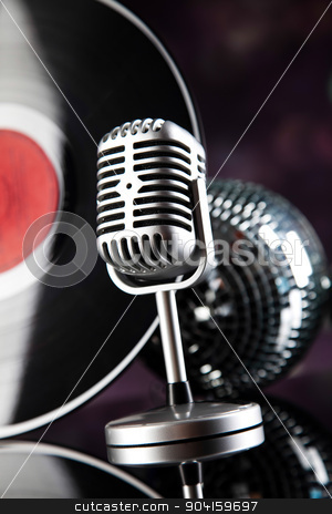 Retro style microphone, Music background, music saturated concep stock photo, Retro style microphone, Music background, music saturated concept by Sebastian Duda