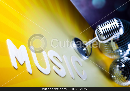 Disco Ball, Microphone, music saturated concept stock photo, Disco Ball, Microphone, music saturated concept by Sebastian Duda