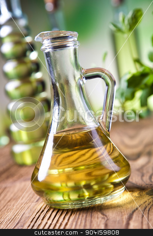Carafe with olive oil, Mediterranean rural theme stock photo, Carafe with olive oil, Mediterranean rural theme by Sebastian Duda