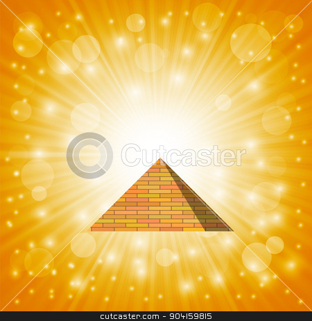 Pyramid stock vector clipart, Pyramid on Hot Sun Sky Background for Your Design by valeo5