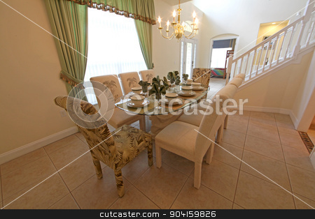 Dining Room stock photo, An interior shot of a dining room in a home. by Lucy Clark