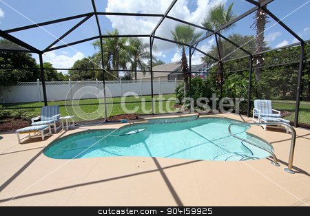 Swimming Pool stock photo, A swimming pool and deck with screen by Lucy Clark