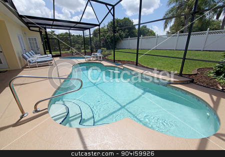 Swimming Pool and Spa stock photo, A Swimming Pool and Spa with screen by Lucy Clark