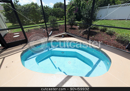 Jacuzzi stock photo, A jacuzzi in the pool area of a home by Lucy Clark