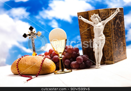 Symbol christianity religion, bright background, saturated conce stock photo, Symbol christianity religion, bright background, saturated concept by Sebastian Duda