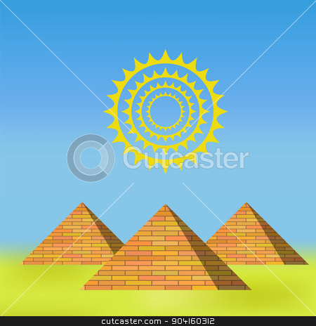 Pyramids stock vector clipart, Pyramids on Blue Sky Background for Your Design by valeo5