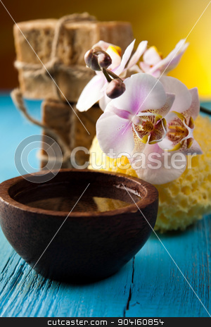 Spa, sea salt in wooden bowl, fresh and organic concept stock photo, Spa, sea salt in wooden bowl, fresh and organic concept by Sebastian Duda