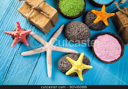 Sea salt in wooden bowl, organic products, Spa stock photo, Sea salt in wooden bowl, organic products, Spa by Sebastian Duda