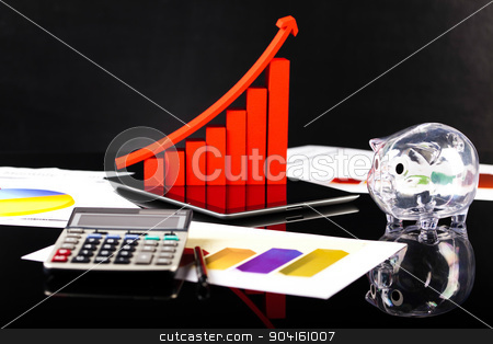 Financial graph, calculator and chart stock photo, Financial graph, calculator and chart by Sebastian Duda