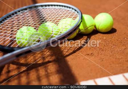 Tennis racket and balls, court stock photo, Tennis racket and balls, court by Sebastian Duda