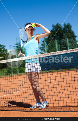 Girl Playing Tennis, summertime saturated theme stock photo, Girl Playing Tennis, summertime saturated theme by Sebastian Duda