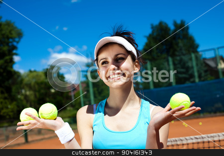 Young woman playing tennis, summertime saturated theme stock photo, Young woman playing tennis, summertime saturated theme by Sebastian Duda