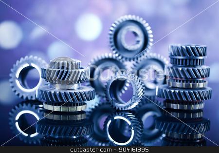 Closeup of gears, industrial mechanism, technic concept stock photo, Closeup of gears, industrial mechanism, technic concept by Sebastian Duda