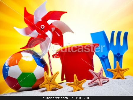 Toys for the beach, vivid colorful atmosphere stock photo, Toys for the beach, vivid colorful atmosphere by Sebastian Duda