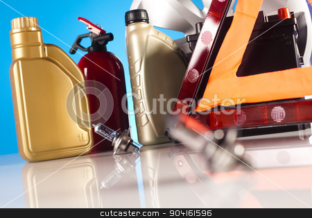 Car Accessories on vivid moto concept stock photo, Car Accessories on vivid moto concept by Sebastian Duda