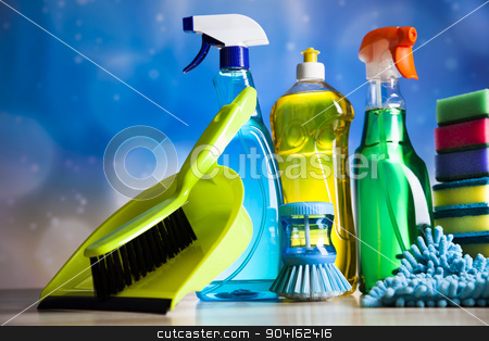 Variety of cleaning products,home work stock photo, Variety of cleaning products,home work by Sebastian Duda