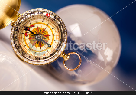 Old compass on modern bright background stock photo, Old compass on modern bright background by Sebastian Duda