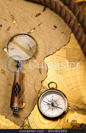 Magnifying glass & Compass, colorful bright journey theme stock photo,  by Sebastian Duda