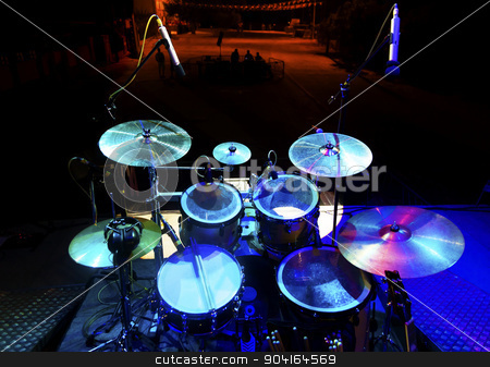 Drum on stage stock photo, Live music and instrument. Drum on stage by carloscastilla