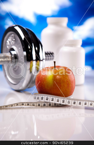 Measuring of dumbbell, bright colorful tone concept stock photo, Measuring of dumbbell, bright colorful tone concept by Sebastian Duda