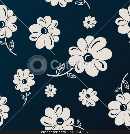 White and black flowers seamless background stock vector clipart, White and black flowers seamless background wallpaper by Extezy