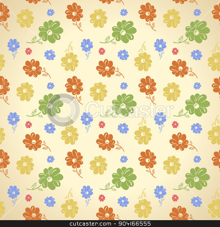 Vector flower pattern. Seamless background. Green yellow blue re stock vector clipart, Vector flower pattern. Seamless background. Green yellow blue red wallpaper by Extezy