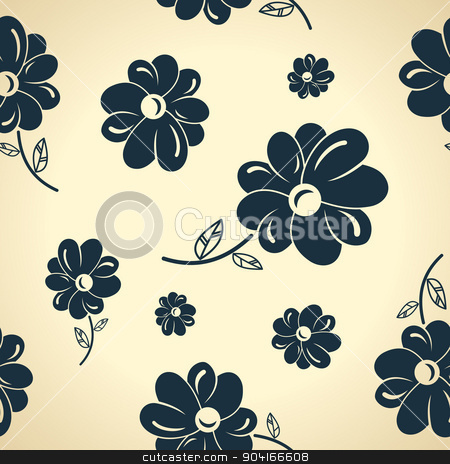 Vintage black flowers. Seamless background stock vector clipart, Vintage black flowers. Seamless background wallpaper by Extezy