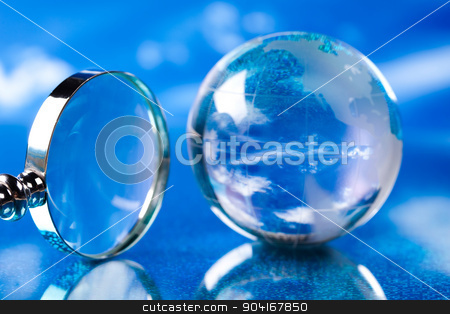 Globe on bright vivid background stock photo, Globe on bright vivid background by Sebastian Duda